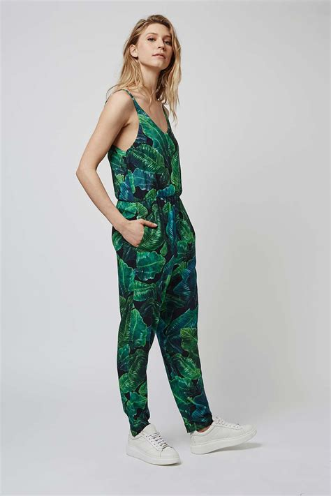 Green Leaf Pattern Jumpsuit   palm print jumpsuit topshop