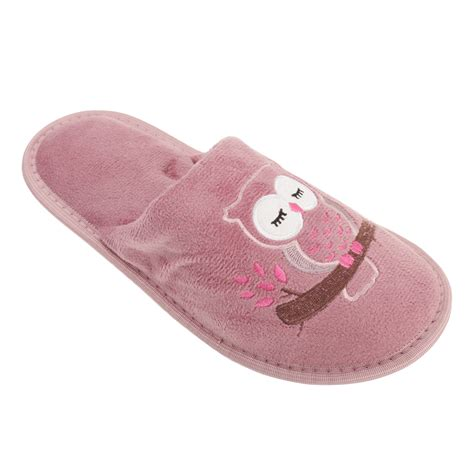 owl slippers slumberzzz womens owl design slip on slippers ebay