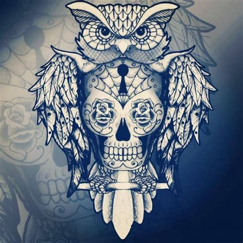 tattoo owl mexican i really like this owl tat with a day of the dead skull in