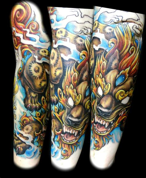 new school japanese tattoo artist new school foo dog tattoo by jackie rabbit by