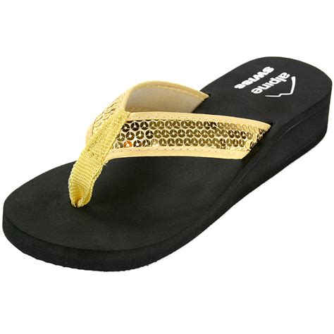 Sequined Wedge Sandal by Alpine Swiss S Wedge Sandals Sequin Flip Flops