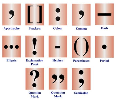 punctuation marks and symbols english subject area