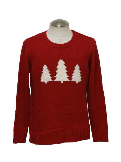 ugly christmas sweater white stag unisex red background