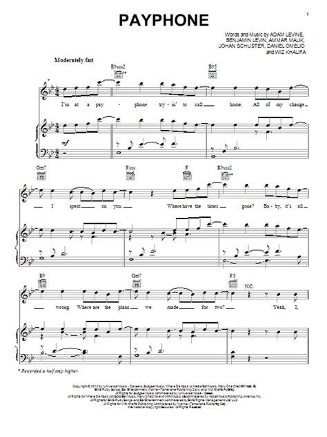 tutorial piano payphone payphone feat wiz khalifa sheet music by maroon 5