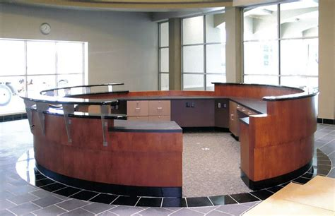 Circular Reception Desk Circular Cherry Reception Desk 7 1 Newmark Furniture