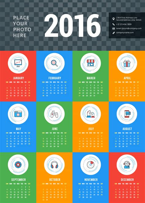 Different Calendars Different Business Icons Calendar 2016 Vector Free