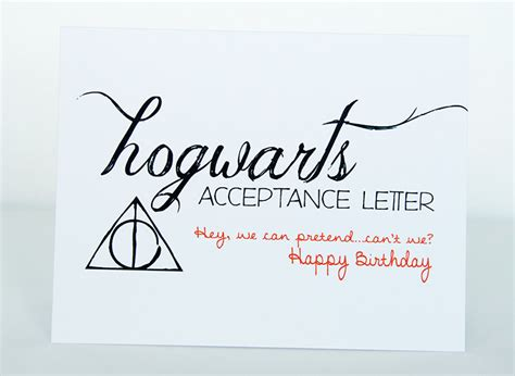 Hogwarts Acceptance Letter Birthday Card Hogwarts Acceptance Letter Happy Birthday Card Harry Potter