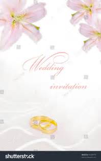wedding invitation or greeting card blank with flowers and golden rings stock photo