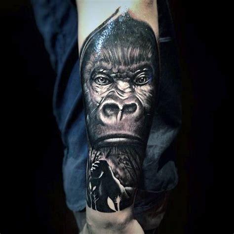 lower arm half sleeve tattoos for men 100 gorilla designs for great ape ideas
