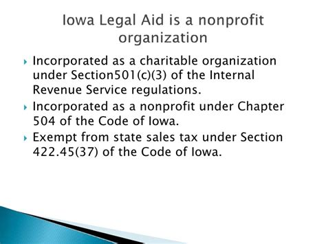 irs section 422 overview of iowa legal aid program structure