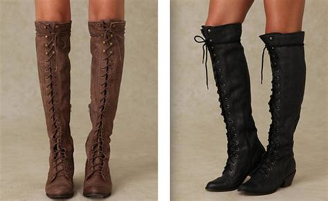 shoes boots lace up knee high brown black