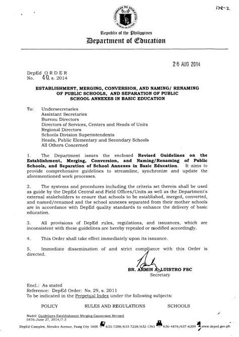 Request Letter Deped Revised Guidelines On The Establishment Merging Conversion And Nami