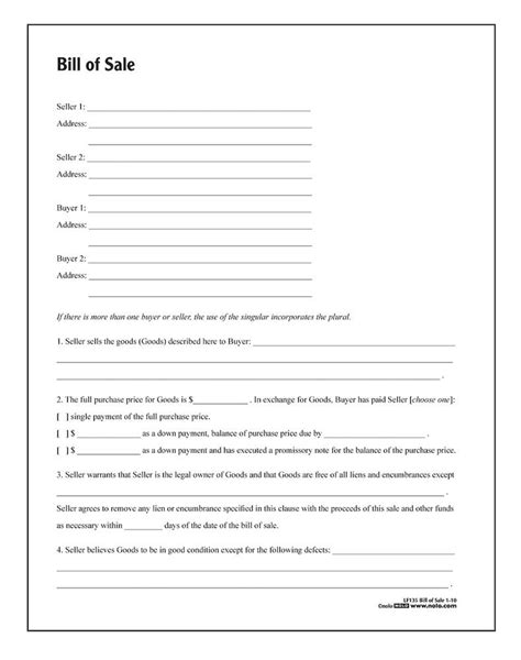 bill of sale form bill of sale forms and