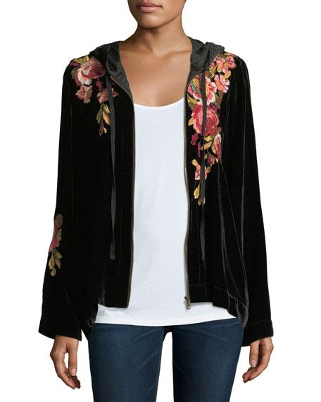Embroidered Velvet Hoodie johnny was malui floral embroidered velvet hoodie neiman