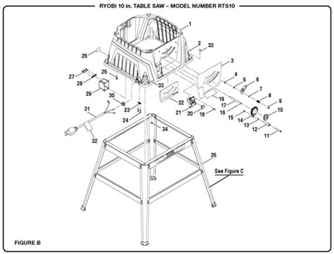ryobi table saw parts ryobi rts10 10 quot table saw parts and accessories partswarehouse