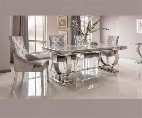 arianna grey marble dining set   velvet chairs  room style
