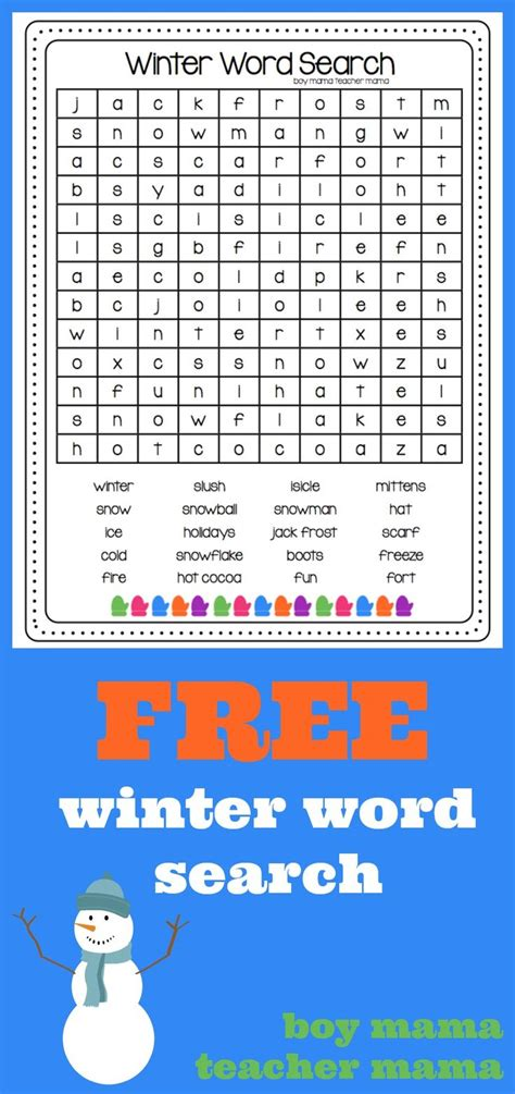 printable word games for 4th graders 6th grade winter word search weather wordsearch