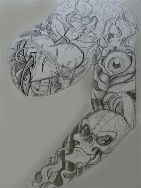 roughs for tattoo sleeve panel by chrisxart on deviantart