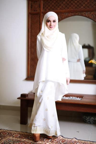 fish tail songket  white gold muslim women fashion