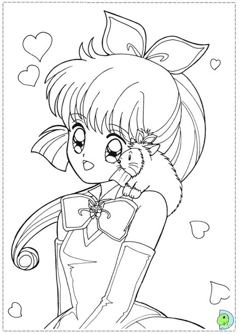 anime cat girl colouring pages