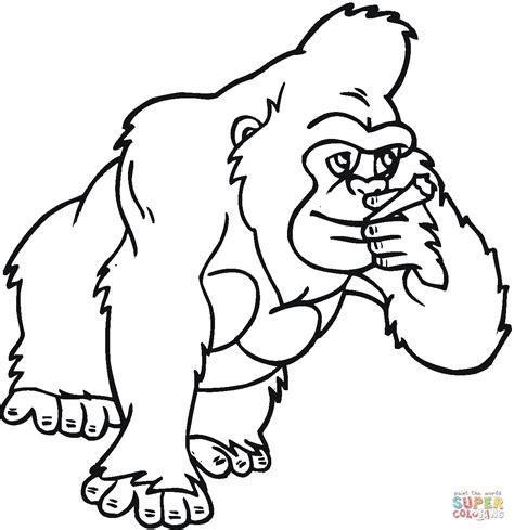 gorilla outline coloring page kolorowanka duży goryl kolorowanki dla dzieci do druku