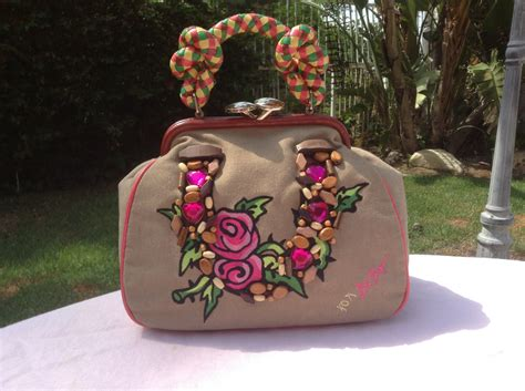 Greetings From Betseyville by Betseyville Betsy Johnson Purse Roses Hearts Leather Roped