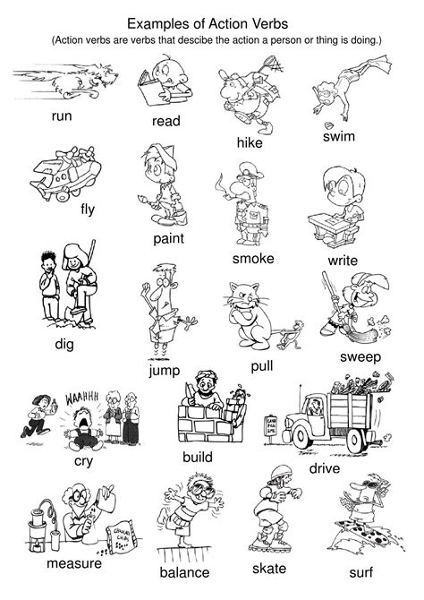 printable pictures verbs exles of action verbs tpt pinterest action verbs