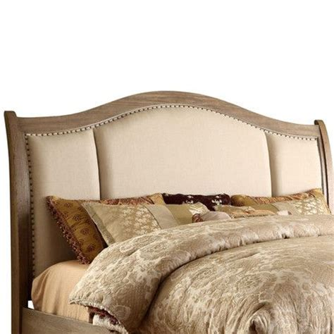 Upholstered Headboard With Wood Trim Wood Headboard With Linen Upholstery And Hammered Nailhead Trim Product Headboard