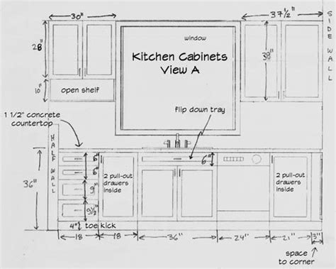kitchen cabinet sizes chart  standard height