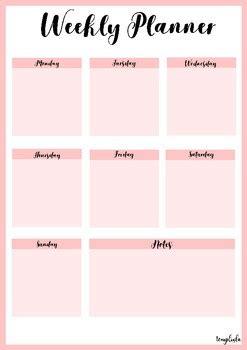 printable weekly planner portrait  pink  temploola tpt