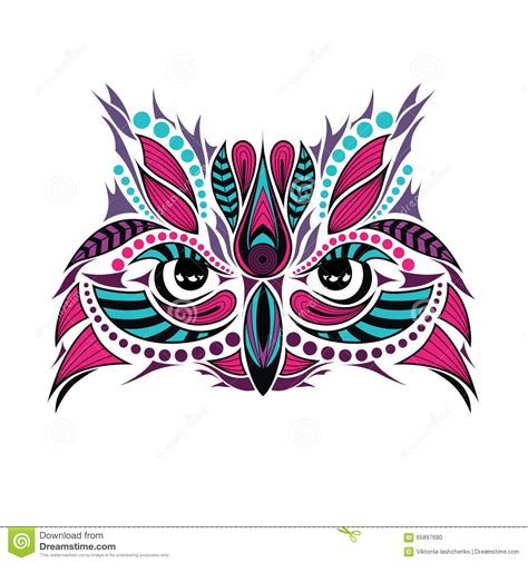 patterned colored of the indian patterned colored of the owl indian