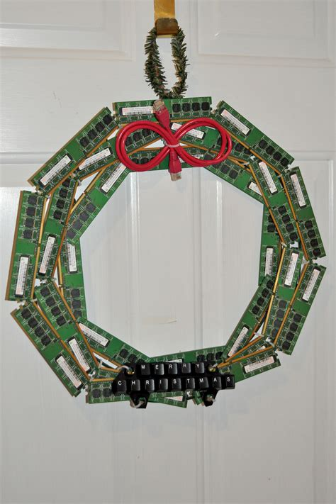 christmas decorations on the computer upcycled computer wreath make
