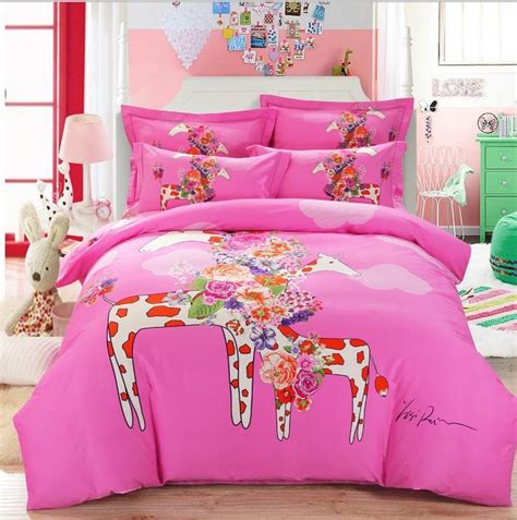 girls queen bedding aliexpress com buy animal giraffe horse elephant cartoon
