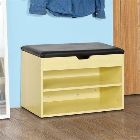 shoe storage bench with padded seat sobuy 2 tiers shoe storage bench shoe cabinet with padded