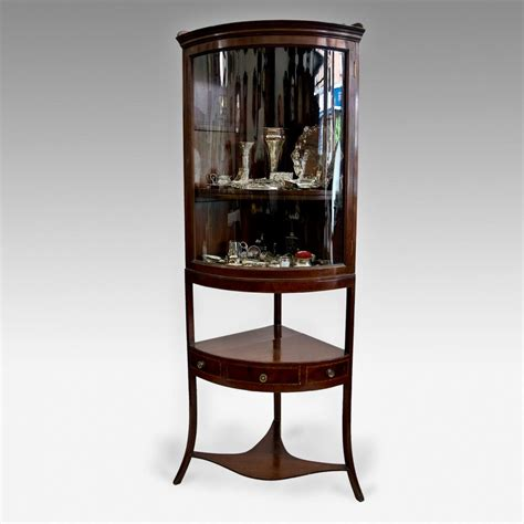 Corner Display Cabinets by Inlaid Mahogany Corner Display Cabinet