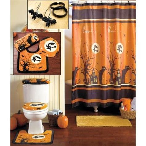 Pc halloween bath set shower curtain hooks rugs new bath linen sets