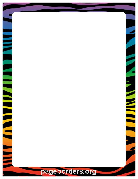 zebra printer templates for word printable rainbow zebra print border use the border in