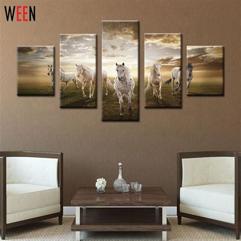 modern home wall decor 5 panel five running horses art pictures cuadros