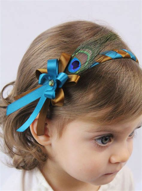hair bows baby feather headbands headband 32 best images about peacock child hair on