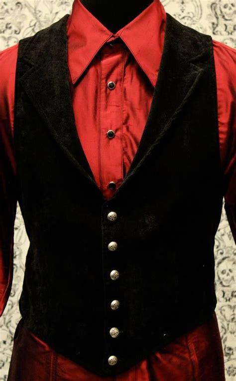black suit red shirt with vest victorian aristocrat vest black velvet mens fashion