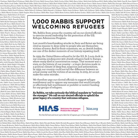 Sle Support Letter For Refugee 1 000 Rabbis Sign Letter In Support Of Welcoming Refugees Hias