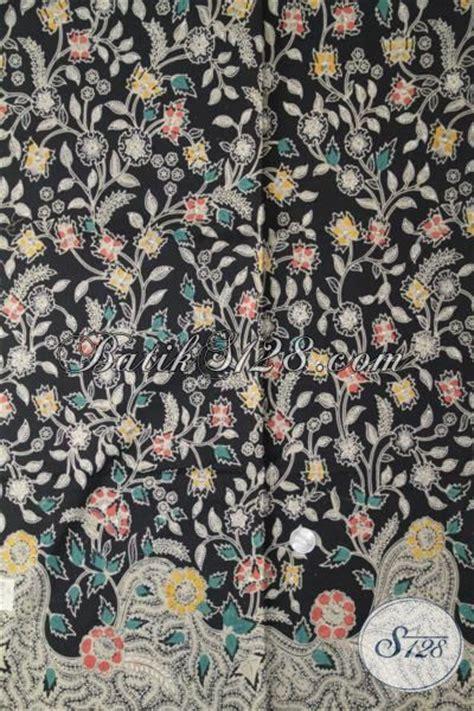 Kain Batik Tulis Lasem Motif Bunga batik warna hitam motif bunga kwalitas premium kain batik kombinasi tulis bahan blus berkelas