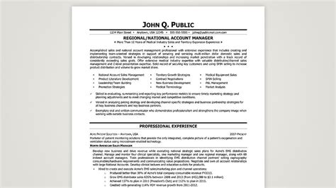 regional national account manager the resume clinic