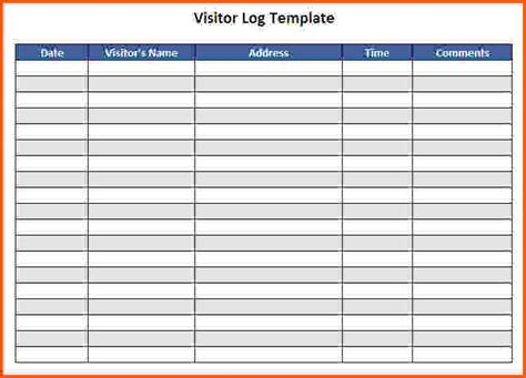 Visitor Log Template Charlotte Clergy Coalition Visitor Register Book Template