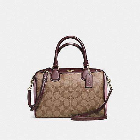 Mini Bennet Emboss Oxblood mini satchel in colorblock signature f57495 imitation gold khaki oxblood multi