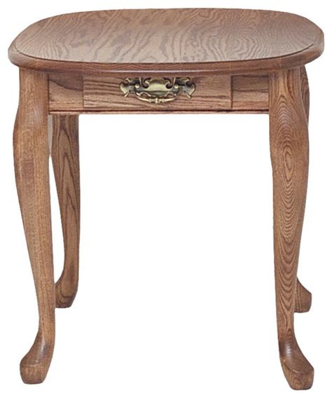 solid oak end table with drawer traditional