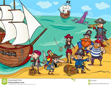 cartoon boat game pirates with ship cartoon stock vector illustration of