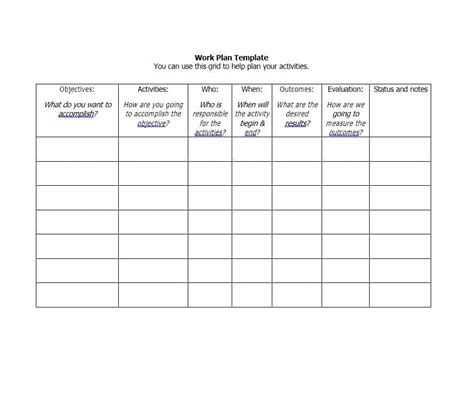 what is a work plan template work plan 40 great templates sles excel word