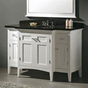 White Vanity Black Granite Top Portland 53 In Vanity White W Black Granite Top
