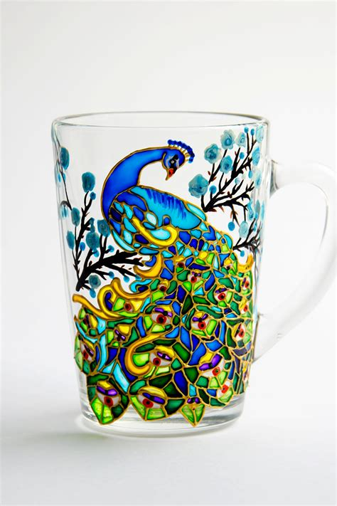 Peacock Coffee peacock coffee mug painted peacock custom mug